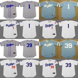 Wholesale Men Weeding - 2017 Men's Brooklyn Dodgers #1 PEE WEE REESE #39 ROY CAMPANELLA Throwback Baseball Jersey Stitched