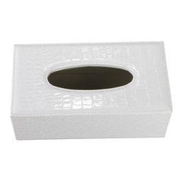 Wholesale Leather Napkin Holder - Wholesale- AYHF-Durable Home Car Rectangle PU Leather Tissue Box Paper Holder Case Cover Napkin(white Crocodile Grain)