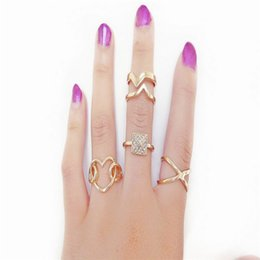 Wholesale 14k Gold Stacking Rings - New Women Fashion Gold Plated Metal Punk Rock Crystal Spike Stacking Midi Rings Knuckle Ring Jewelry
