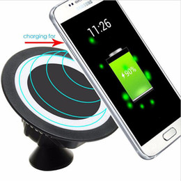 Wholesale Iphone Charger Mount Dock - Qi Wireless Charger Dock With Wireless Charging Receiver for iphone 6 7 samsung s5 s6 s7 Magnetic 360 Rotating Mount Car Holder Charging Pad