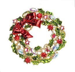 Wholesale Christmas Wreath Pins - 1.8 Inch Silver Gold Plated Wreath and Christmas Brooch with Crystals and Red Bow Gift Pins