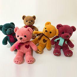 Wholesale Cute Love Teddy - 2017 new simulation cute love scarf teddy bear stuffed animal soft plush creative toy baby gift free shipping
