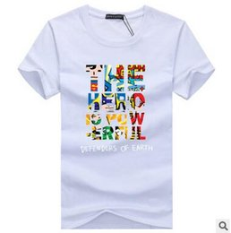 Wholesale U S Yellow - Summer Men oversize superman Color letter printing U-neck Cotton T-shirts heavy Casual loose tops Short Sleeve Fashion fat Tees Primer shirt