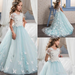 Wholesale Cute Blue Prom Dresses - Pretty Lace Little Bride Flower Girl Dresses Short Sleeves With Cute Butterfly Sweep Train 2017 Kids Glitz Pageant Prom Party Gowns