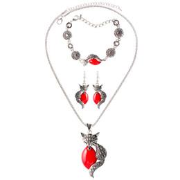 Wholesale Family Earrings - Fine Jewelry sets S165 fashion cartoon animal family three-dimensional fox three color jewelry set Bracelet Necklace Earrings Set