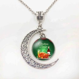 Wholesale Deer Choker - Silver Color Christmas Deer Tree Picture Half Moon Glass Cabochon Pendant Necklace For Women Handmade Choker Necklace Jewelry