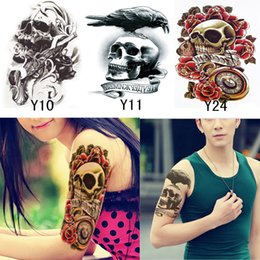 Wholesale Cool Sleeve Tattoos Men - Wholesale- 3Pcs Women Men Temporary Tatoo Henna Cool Skull Tattoo Waterproof Fake Tattoos Tatuagem Tatouage 3D Body Art Sleeve DIY Stickers