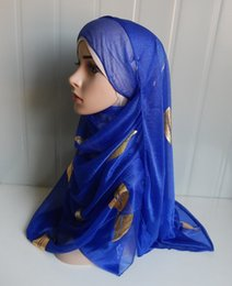 Wholesale Thread Scarves - Wholesale-mu1126 leaves Gold thread Print Soft Net New Style Fashion Hoody Wrap Ladies muslim Hijab classic style Women Scarf