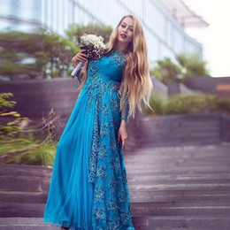 Wholesale Islamic Art Pictures - Blue Long Sleeve Islamic Evening Dress 2017 Appliques Beaded Sexy Party Dresses Muslim Evening Dress vestido de noiva