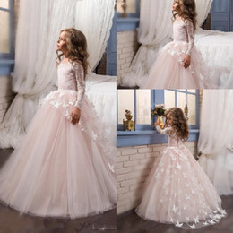 Wholesale Lace Butterfly Wedding Dress - 2017 Hot Princess Pink Ball Gown Flower Girl Dress Long Sleeve Sweep Train Butterfly Girls Wedding Party Dresses First Communion Dress