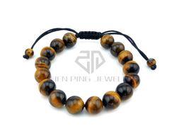 Wholesale Tibetan Beads Buddha - Natural Tiger Eye Stone Beads Elastic Rope Bracelet with Fengshui Coin Yoga Tibetan Prayer Mala Buddha Weaving Bracelet