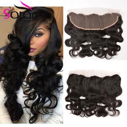 Wholesale Human Hair Filipino - 13X4 Lace Frontal Closure 7A Brazilian Indian Filipino Body Wave Full Lace Frontals With Baby Hair Filipino Virgin Human Hair Lace Closure