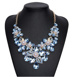 Wholesale Crystal Statement Necklace Gemstone - Elegant Women Wedding Party Statement Necklaces Rhinestone Immitation Gemstone Collar Necklaces For Women Gifts For Her