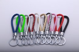 Wholesale Keychain Braided - Creative hand woven rope Leather cord keychain Boutique Braided rope keyring Private Custom Exquisite packaging decoration
