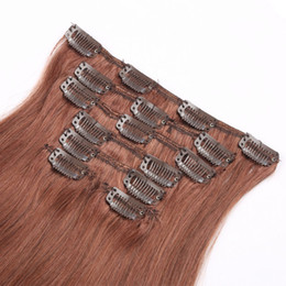 "Wholesale European Hair Clips Remy - Hot selling 70g 100g 120g 160g Full Head Straight Remy Clip in Human hair extensions Black Brown Blonde optional 16"" - 26"""