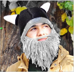 Wholesale Funny Gag Gifts Christmas - Men's Barbarian Vagabond Viking Beard Beanie Horn Hats Handmade Winter Warm Birthday Cool Gifts Funny Gag Christmas Cap