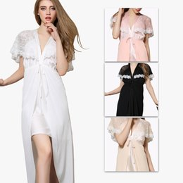 Wholesale Hot Women Babydolls - Wholesale Hot Women sexy Nightwear Satin Lace Lingerie Sleepwear Robes Intimate night Gown Robes Kimono Exotic Apparel Babydolls L2508