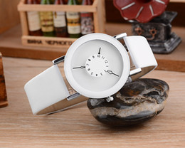 Wholesale Oversized Wrist Watches - Fishion Latest Vintage Quartz Relojes Leather Band Round Women Men Relogio Oversized Face Wrist Watch free shipping