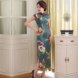 Wholesale FMS1077 Faux Silk long Chinese Qipao Dress vintage chinese style cheongsam dress Long Oriental Dress