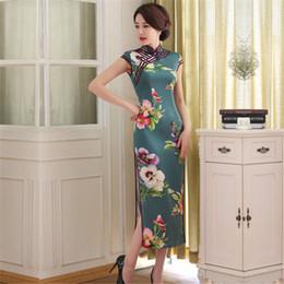 Wholesale Oriental Print Dress - FMS1077 Faux Silk long Chinese Qipao Dress vintage chinese style cheongsam dress Long Oriental Dress