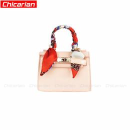 Wholesale Purple Patent Purse - Chicarian Fashion Kid Handbag With Scarf Candy Color Kids Messenger Bag Stylish Baby Patent Leather Purse Girls Designer Handbags CA001