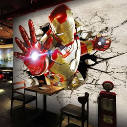 Wholesale background cool - 3D View Iron Man Wallpaper Giant Wall Murals Cool Photo Wallpaper Boys Room decor TV background Wall Bedroom Hallway Kids Room Free shipping