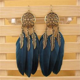 Canada Hot Dream Catcher évider Vintage Leaf Plume Dangle Boucles d'oreilles pour les femmes Bohemia Earring Lady ethnique bijoux indien cheap indian earrings Offre