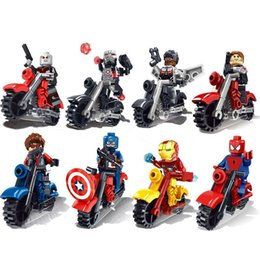 Wholesale Stars Wars Toys - 8pcs set The Avengers Super Heroes Motorcycle Action Figures Building Toy Captain America Ironman spiderman Superman Model Toys