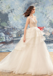 Wholesale Layered Beach Summer Wedding Dress - layered skirt peacock wedding dresses 2017 papilio bridal princess ball gown v neck heavily embellished bodice chapel train wedding gowns