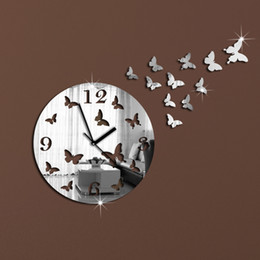 Wholesale 3d Mirror Butterflies - Wholesale-wall clock modern design luxury mirror wall clock,3d crystal mirror wall watches wall clocks 11 butterflies.