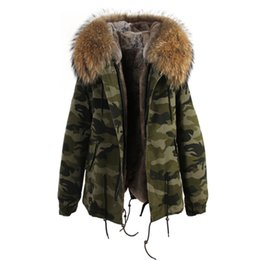 Wholesale Mini Jacket S - Mrs furs Camouflage jackets women's mini furs parka hooded with 100% Raccoon fur hood collar Removable liner