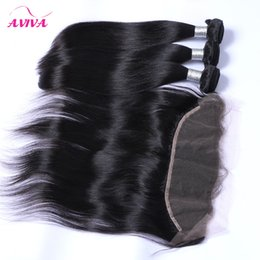 Wholesale Straight Frontal Lace - Brazilian Straight Virgin Hair Weaves 3 Bundles With Lace Frontal Closure Peruvian Indian Malaysian Cambodian Human Hair Ear to Ear Closures
