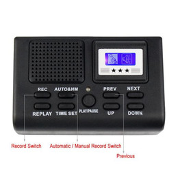 Wholesale Digital Card Retail - Mini Digital Telephone Voice Recorder Phone Call Monitor With LCD Display phone recorder Support SD Card black in retail box