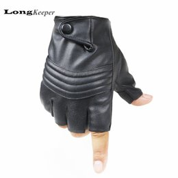 Wholesale A2 Leather - Wholesale- LongKeeper Leather Gloves for Men Sheepskin PU Leather Fingerless Gloves for Driving Fitness Gym Black Guantes High Quality A2