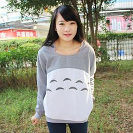 Wholesale Hoodies Ears For Women - Wholesale- New Cute Girl'S Totoro Hoodies With Ears Style For Women Hood Pullovers Gray Cotton My Neighbor Sweatshirt Anime Cartoon Tops