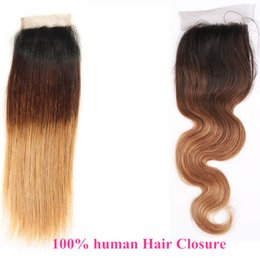 Wholesale Human Hair Straight Gold - Color ombre 1B 4 27# jet black chocolate gold Brown Lace ClOSures 4x4 human hair Brazilian Peruvian Virgin Lace CLosure BOdy Wave Straight