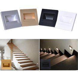 luzes de passo modernas Desconto Luz Recessed diodo emissor de luz da noite do diodo emissor de luz da luz da plataforma do diodo emissor de luz da luz da escada da ESPIGA da ESPIGA da lâmpada de parede de 2.5W 85-265V para interno