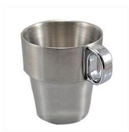 Wholesale Gargle Cup - Wholesale- Kitchen Drinkware 300 ml double layer stainless steel gargle cup mug mugs 2pcs lot free shipping