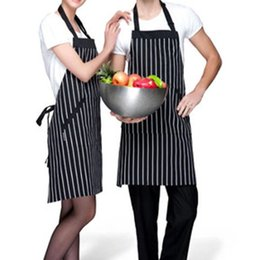 Wholesale Kitchen Aprons Bib - Professional Bib Apron Adjustable Bib Apron with Pockets Black   White Pinstripe Barista chef Kitchen Apron