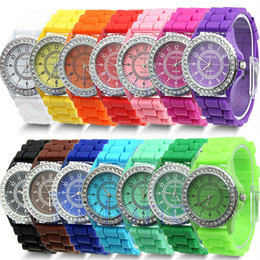 Wholesale Classic Gel Crystal Watch - 15pcs Classic Gel Silicone Crystal Men Lady Jelly Watch Gifts Stylish Fashion multi color Luxury Free Shipping