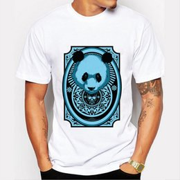 Wholesale Panda Tee - Wholesale- T Shirt for Man 2016 Brand Clothing Men Fashion Print Cool Funny Panda Harajuku Tee Shirts O-neck Hipster Tops
