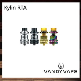 Wholesale Bearings Wholesale - Vandy Vape Kylin RTA 2ml   6ml Tank Plethora of Airflow Holes Both Single and Dual Coil Atomizer Wide Bore Drip Tip TPD Pack 100% Original