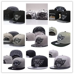 Wholesale leather logo sports hats caps - High Quality Men's Los Angeles Kings Snapback Hat Team Logo Embroidery Sports Adjustable LA Hockey Caps Vintage Leather Visor Strap back Hat
