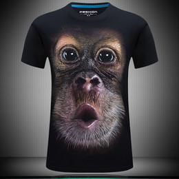 Wholesale Men S Designer Tee Shirts - 3d t shirts men personality funny orangutan designer clothes plus size fat animal t shirt print streetwear fashion tee t shirts for men