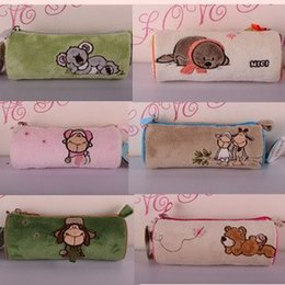 Wholesale Nici Animal Cartoon - Wholesale-candice guo! NICI plush animal cute cylinder Pencil bag cartoon lover sheep bear koala sea lion Cosmetic bag 1pc