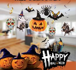 Wholesale Market Paper - Paper hanging accessories 1set 6 styles pumkin witch Halloween party cosplay costume prop home market party night club decor