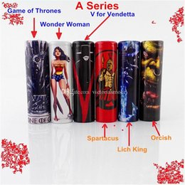 Wholesale Wholesale Wraps - Game of Thrones Wonder Woman Spartacus Lich King Orcish 18650 Battery PVC Skin Sticker Vaper Wrapper Cover Sleeve Wrap Heat for Vape