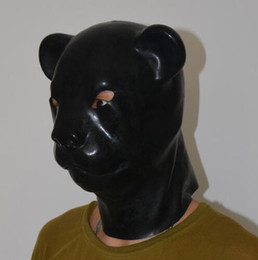 Wholesale Dog Slave - (LS05)Fetish Latex full head latex pig dog cat leopard wolf horse animal head slave mask rubber hood SM Hood suffocate Mask