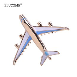Wholesale Moon Scarf - Cute Blue Enamel Airplane Brooch Pins Gold-color Jewelry Girls Dress Scarf Suit Collar Clips Aircraft Corsages Kids Broches