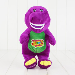 Wholesale Dinosaur Plush - 30cm Dinosaur Singing Barney Child's Best Friend Plush Soft Stuffed Doll Toy for kids gift Sing I LOVE YOU Free Shipping EMS